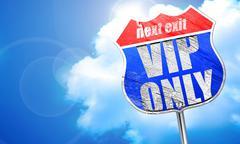Vip only, 3D rendering, blue street sign Stock Illustration