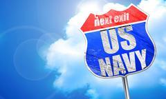 us navy, 3D rendering, blue street sign - stock illustration