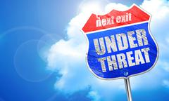 under threat, 3D rendering, blue street sign - stock illustration