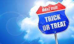 trick or treat, 3D rendering, blue street sign - stock illustration