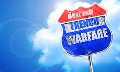 Trench warfare sign, 3D rendering, blue street sign Stock Illustration