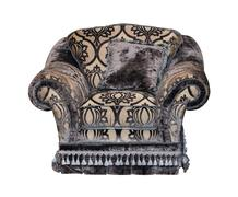 Dark classic soft textile chair isolated - stock photo