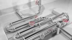 Animated 3D shiny metallic pipes forming a growing pipes structure Stock Footage