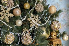 Classic New Year tree decorated, christmas background Stock Photos