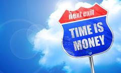 Time is money, 3D rendering, blue street sign Stock Illustration