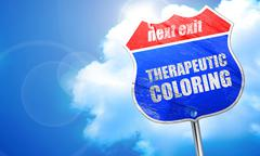 Therapeutic coloring, 3D rendering, blue street sign Stock Illustration