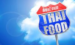 Thai food, 3D rendering, blue street sign Piirros