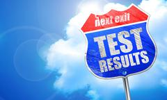 Test results, 3D rendering, blue street sign Stock Illustration