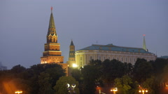 Twilight view of towers of Moscow Kremlin with ruby stars Stock Footage