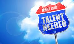 Talent needed, 3D rendering, blue street sign Stock Illustration