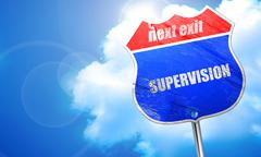 Supervision, 3D rendering, blue street sign Stock Illustration