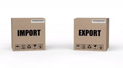 3d rendered animation of import and export cartons falling Stock Footage