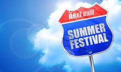 Summer festival, 3D rendering, blue street sign Stock Illustration