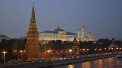 Twilight view of embankment of Moscow river and Moscow Kremlin with ruby stars Stock Footage