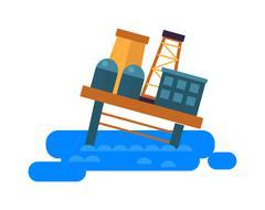 Sea oil rig offshore platform crash vector illustration - stock illustration
