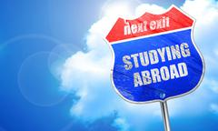 Studying abroad, 3D rendering, blue street sign Stock Illustration