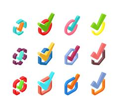 Check vote icons vector set - stock illustration