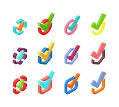 Check vote icons vector set Stock Illustration