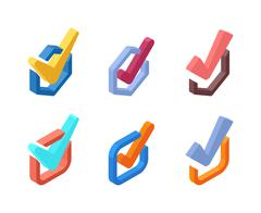 Check vote icons vector set Stock Illustration