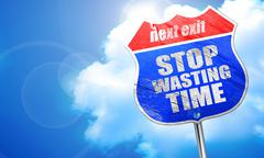 stop wasting time, 3D rendering, blue street sign - stock illustration
