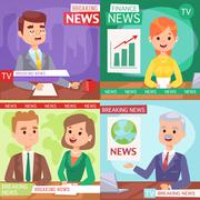 Breaking news people - stock illustration