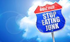 Stop eating junk, 3D rendering, blue street sign Stock Illustration