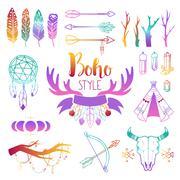 Boho symbols vector set - stock illustration