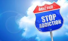 Stop addiction, 3D rendering, blue street sign Stock Illustration