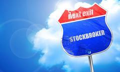 Stockbroker, 3D rendering, blue street sign Stock Illustration