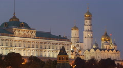 Grand Kremlin Palace and Cathedral of the Annunciation in twilight Stock Footage