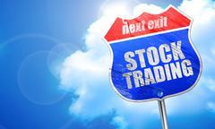 Stock trading, 3D rendering, blue street sign Stock Illustration