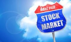 Stock market, 3D rendering, blue street sign Piirros