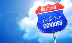 Delicious cookies sign, 3D rendering, blue street sign Stock Illustration