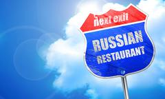 Delicious russian cuisine, 3D rendering, blue street sign Stock Illustration