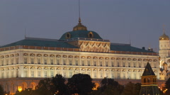 Grand Kremlin Palace in twilight Stock Footage