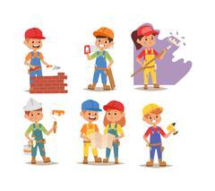 Builders kid vector - stock illustration