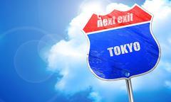 Tokyo, 3D rendering, blue street sign Piirros