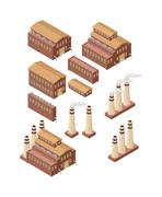 Factory buildings vector illustration - stock illustration