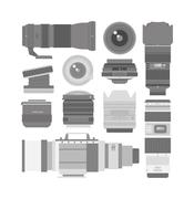 Photo optic lenses vector set - stock illustration