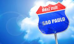 Sao paulo, 3D rendering, blue street sign Stock Illustration