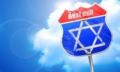 Star of david, 3D rendering, blue street sign Stock Illustration