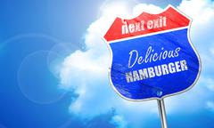 Delicious hamburger sign, 3D rendering, blue street sign Stock Illustration