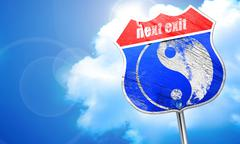Ying yang symbol, 3D rendering, blue street sign Stock Illustration