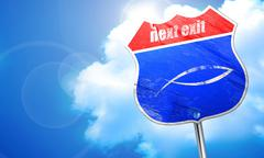 Christian fish symbol, 3D rendering, blue street sign Stock Illustration