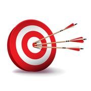 Red Archery Target with Arrows Illustration Stock Illustration