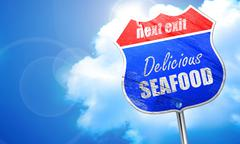 Delicious fish sign, 3D rendering, blue street sign Stock Illustration