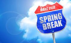 Spring break, 3D rendering, blue street sign Stock Illustration