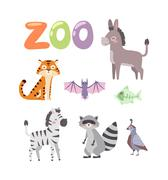 Zoo animals vector set Stock Illustration