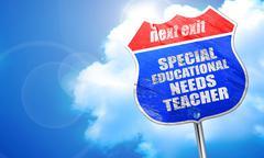 special educational needs teacher, 3D rendering, blue street sig - stock illustration