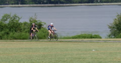 Bicycle Riders Riding in Washington DC Hot Day Editorial 10bit, 4K  - stock footage